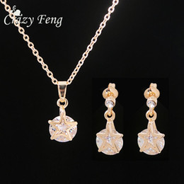 Fashion Statement Necklace + Earrings Sets For Women Girl Gold Plated Jewelry Charm Crystal Star Pendant Jewelry Sets