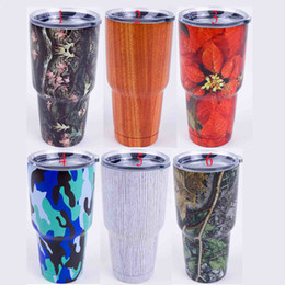 Wholesale Christmas Best Gifts Flower Pattern oz Yeti Rambler Tumbler Stainless Steel Vacuum Insulated Cup Double Walled Travel Mug Car Cup