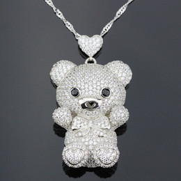 Wholesale Winnie the pooh Bear Full Bright Cubic Zirconia Zirco Sterling Silver Pendant With Chain Best Birthday Gift for Children and Women