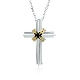 Factory direct wholesale and retail 925 sterling silver fine chain separation X Cross Necklace Fashion Silver Necklace