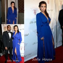 Promotion kim kardashian bleu robe de célébrité Sexy Kim Kardashian Robe de Soirée Robe Rouge Robe de Soirée en Mousseline de Soie Longue Robe de Soirée Dresse