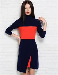 Wholesale New products Women Slim Style Cashmere Vintage Dress Spring Autumn Turtleneck Mini Sweater split Dresses Patchwork Knitwear Female Dres