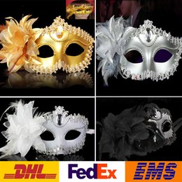 Wholesale 4 Color Halloween Lace Flower Venetian Halloween Party Masquerade Ball Carnival Eye Masks Party Makeup Costume Princess Masks Gifts WX C05