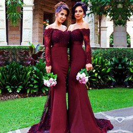 Free Shipping!Burgundy Long Sleeve Mermaid Bridesmaid Dresses 2019 Cheap Arabic Vintage Lace Sheer Beaded Sequin Vestido De Festa