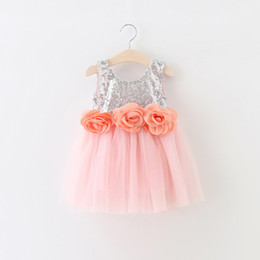 EMS DHL Free Shipping toddler Little Girl's Holiday Dress kids Lace Flowers Dress Gauze Princess Party Dress 90-130 Sequin