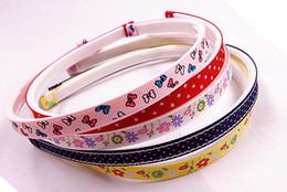 50pcs print Grosgrain ribbon lined covered Headbands,plastic headband with teeth 50pcs