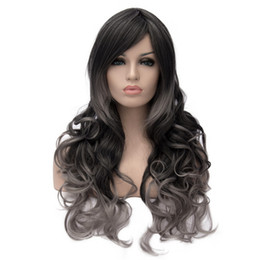 Wholesale Long Grey Wig Heat Resistant - curly ombre wig synthetic wigs cosplay grey black wig heat resistant cheap high quality long wigs for women natural fake hair 68cm