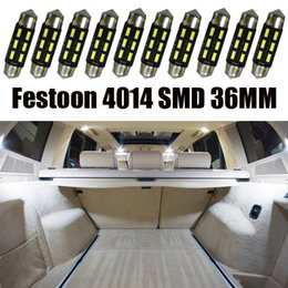 300pcs auto Interior LED 6SMD 4014 36mm Festoon Dome Reading Vehicle Light Cargo Area License Plate Lamp roof boot bulbs styling 6411 White