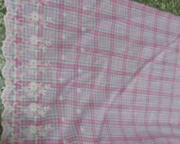 Wholesale Reactive dyed cotton Bilateral embroidery jacquard fabric pink white check background pattern cm wide sold by yard