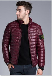 Wholesale New stone Brand New Men Down jacket spring autumn winter stoned island collar thin coats men brief paragraph big yards