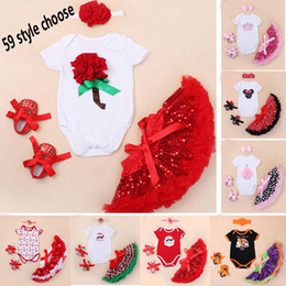 Wholesale Baby Romper Tutu Lace Dresses Sets Girls Suits Headband Short Romper Skirt First Walkers Infant Summer Toddler Sequin Outfits ZJ R12