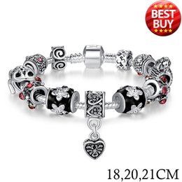 2016 925 Silver Heart Charm Bracelet & Bangle With Glass Beads Jewelry PA1034