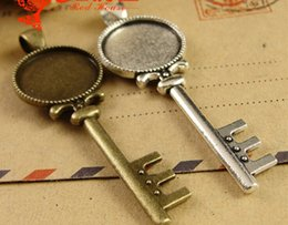Wholesale A3798 MM Fit MM Antique Bronze round key metal stamping blanks tibetan silver cameo cabochon setting bezel pendant blank tray