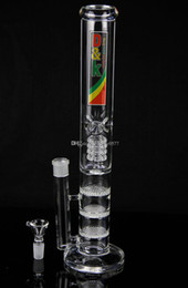 """SHARPSTONE Newest Mobius D&K Brand glass Bong water pipe 17"""" inches Straight pure glass TreePerc water pipe with three Honeycomb Tire Perc"""