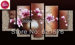 Wholesale Hand painted modern wall art picture living room home decor abstract Lilac Kapok flower group oil painting on canvas framed