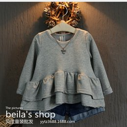 Wholesale Han edition baby clothes girls fall collection fungus falbala fashion long sleeved T shirt short in