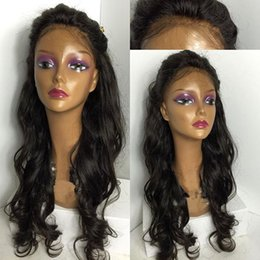 Free Shipping! Natural Color,Wavy Indian Human Hair,Glueless Full Lace Front Wig,Bleached Knots,With Baby Hair