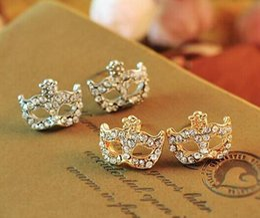 Bohemian Diamond Mask Flower Earrings Stud Fashion Lovely Crystal Fox Mask Earrings Stud Magic Mask Stud Earrings