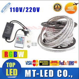 Wholesale FREE Cut M M M M M M M M V V High Voltage SMD RGB CW Led Strips Lights Waterproof IR Remote Control Power Supply