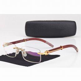 Wholesale Men Carter Rimless Glasses Wooden Buffalo Eyeglasses Brand Optical Glasses Women Silver Gold Wood Glasses Carving Eyewear Frames