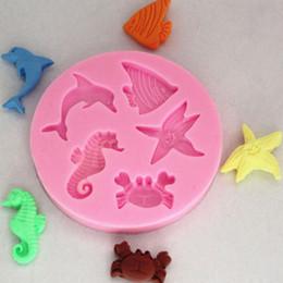 Promotion poissons de silicone pour la pêche 1PCS New Fondant Soap Chocolate Mold Moules 3D Dolphin Crab Poisson Seahorse Starfish silicone pour Fondant au chocolat