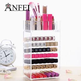 Promotion boîtes à bijoux dames Mode New Clear Acrylic Cosmetic Brush Organizer Box Lipstick Support à Maquillage Bijoux de cas Boîte de rangement pour les femmes Lady