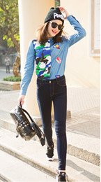 2016 new fashion Women spring summer casual Denim Blouse Camouflage Contrast Color Patchwork Cotton Shirts for Women