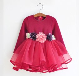 Wholesale Long Striped Summer Dresses - Hug Me Baby Girls Lace Floral Dress Christmas Tutu 2016 New Autumn Long Sleeve for Kids Dress AA-054