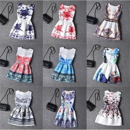 2016 kids dress Girl Dress 2016 Summer Style Fashion Sleeveless Printed Kids Dresses for Girls Clothes Party Princess Dress
