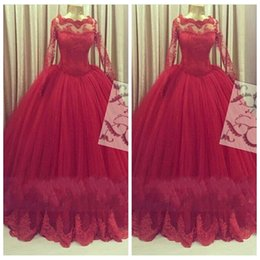 Lace Long Sleeves Dark Red Ball Gown Quinceanera Dresses Lace Appliques Tulle Heavier Skirt Evening Dresses Prom Gowns 2016 Modest