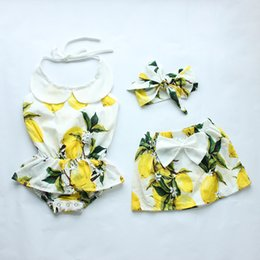 Wholesale New arrival baby girls fashion romper dress skirt headband sets lime fresh style toddlers diaper cover sets cute boutiquecloth skirt sets