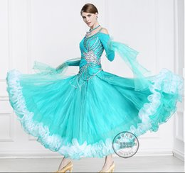 New arrival green customize ballroom Waltz tango salsa Quick step competition dress
