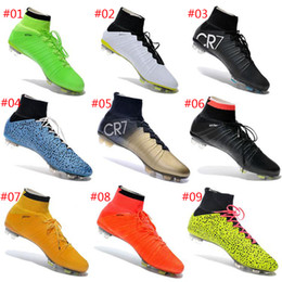 Wholesale With Box Mercurial Superfly FG Soccer Shoes High Ankle Football Boots ACC Men Outdoor Superfly CR7 Cleats With Free Bag And Socks