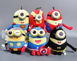 Wholesale 23CM Despicable Me Minions Cosplay Avengers Spiderman Superman Batman Thor Ironman Captain America Cartoon Video Stuffed Plush Cotton Toys