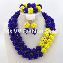 yellow royal blue Wonderful African Beads Jewelry Set Nigerian Wedding African Women Jewelry Set Crystal handmade balls beads jewelry