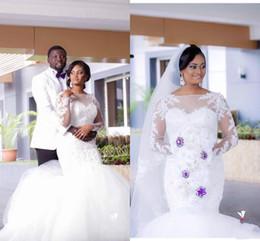 New Arrival Plus Size Mermaid Wedding Dresses Sheer Neck Long Sleeves Autumn Wedding Gowns African Dubai Arabic Wedding Bridal Gowns
