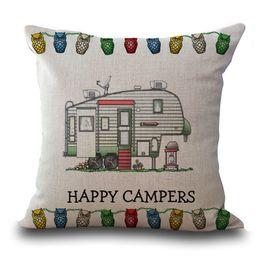 Wholesale FEDEX Happy Campers Travel Trailer Pillowcase Soft Back Cushion Covers Home Style Couple Pillow Case cm Cotton Linen Pillowcase