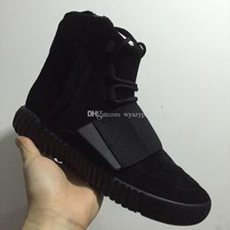 Acheter en ligne Lumières bottes-Produits de qualité Lumières Gommes Grises avec Glow The Dark Bottomines Kanye West Chaussures Nouveau Sneakers authentiques 750 Boost Men Sports Casual boots Plus récent