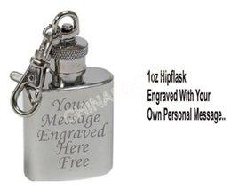 Wholesale Personalised Engraved oz Stainless Steel Hip Flask Keyring whisky pocket bottle groomsman hip flask