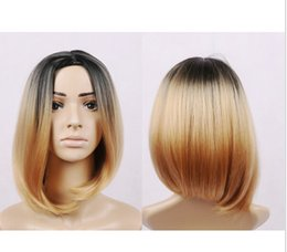 Wholesale HOT ombre synthetic lace front wig ombre bob wig artificial hair beyonce wig blakc ombre blond None lace wigs