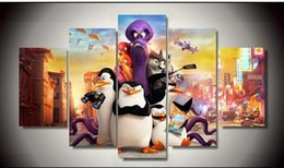 unframed Printed Cartoon penguins movie 5 piece painting wall art children's room decor poster canvas living room decor posters