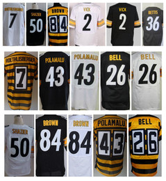 Wholesale 2016 Steeler Elite Jerseys Micheal Vick Jerome Bettis Ben Roethlisberger LeVeon Bell Troy Polamalu Antonio Brown Mix Order