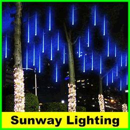 Outdoor Christmas Lights 20cm 30cm 50cm LED String Meteor Shower Rain Tubes Light Wedding Decoration lighting White Blue RGB EU US Plug