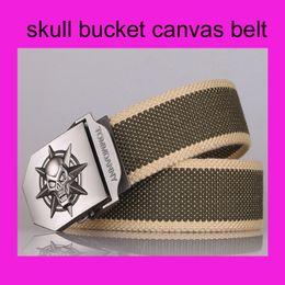 Wholesale Retail pc skull metal bucket luxury designer khaki amy green stripes leather Package edge belt for men casual waist belts