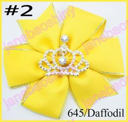 free shipping 20pcs 4.5'' pinwheel hair bows crown girl hair clips rhonestone toddle hair bows baby gift hair clips