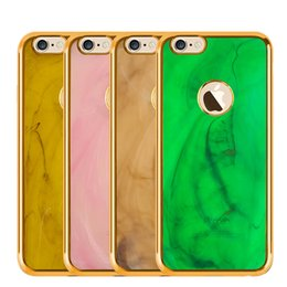 Wholesale For iPhone plus Plus Jade Stone Marble Rock Bling Chromed Soft TPU Case Hole Ring Metallic Gold Cover DHL Free SCA149