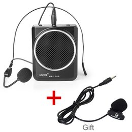 Wholesale Aker MR1700 Portable Waistband Microphone Amplifier AMP MP3 Speaker with Headset EU Plug Loud Speaker Outdoor Dancing Use