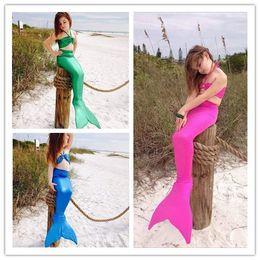 2016 Summer Hot Sale Lovely Girls Mermaid Tail Bikini Swimsuit Swimming Costume Cute Girl Bikini Set Swimwear Kids Performance Bathing Suit