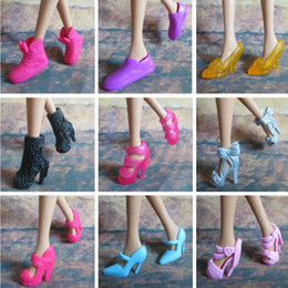 Shoes for Barbie Doll 10 pairs Mix Styles Doll Accessories Shoes Boots High Heels Shoes for Barbie Free Shipping with Track Code