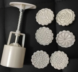 20sets,50g white round shape flower patten Moon Cake Molds with 6 Stamps plastic hand pressure chinese moon cake mould,